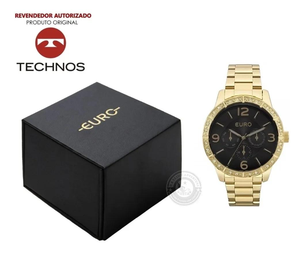 Relógio Euro Feminino Dourado Luxo EU6P29AGX/4P C/ Cristais - Original