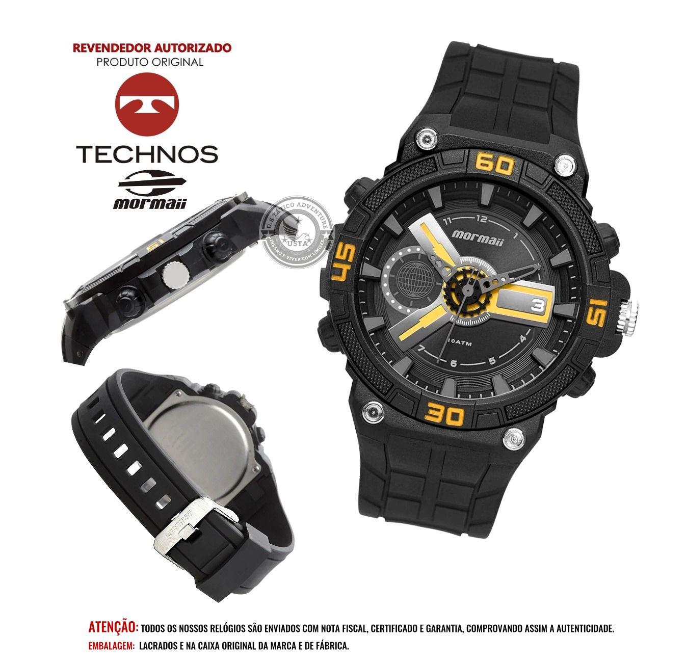 Relógio Mormaii Esportivo Wave Preto C/ AMARELO MOY120AB/8Y Technos