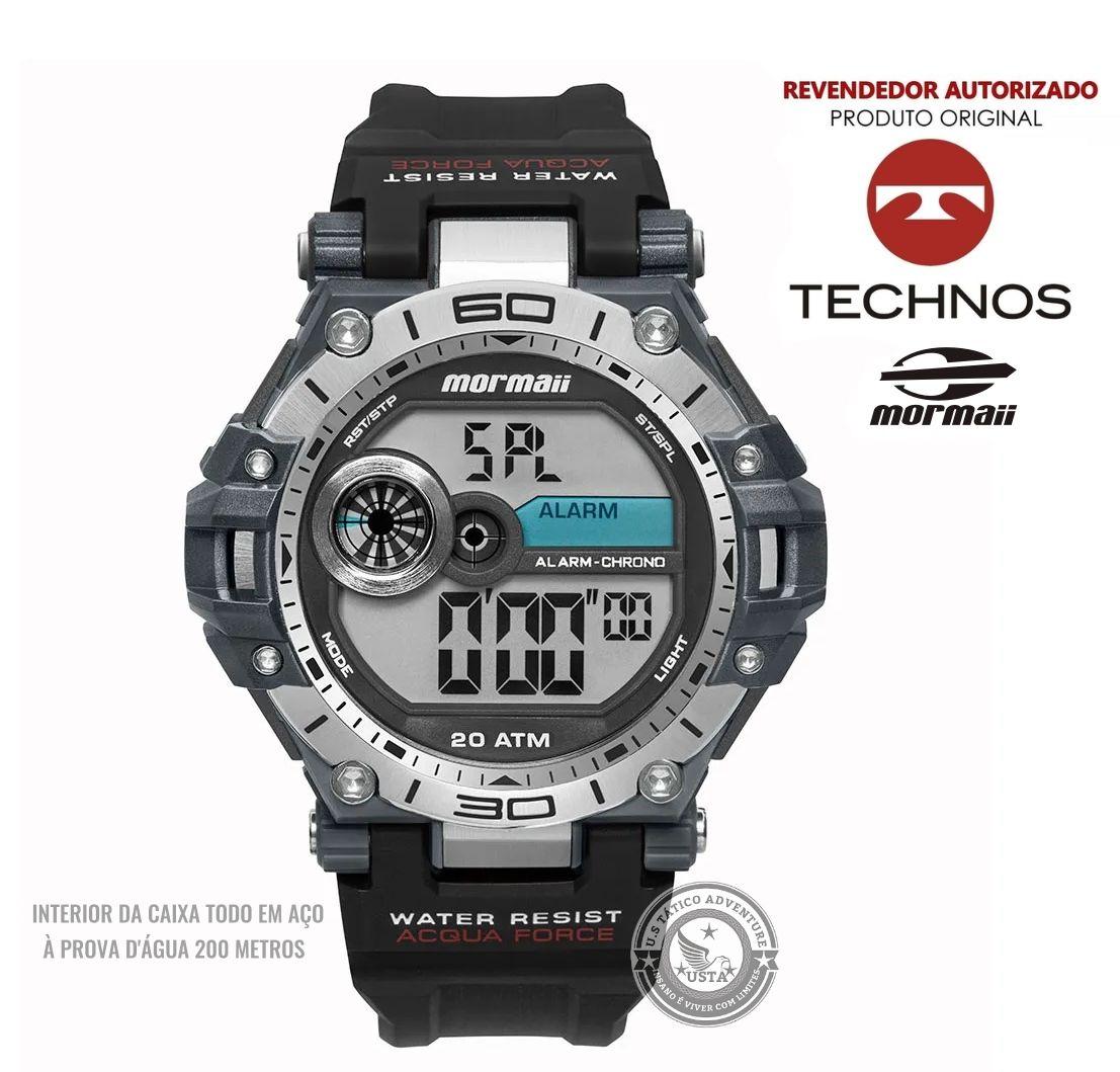 Relógio Mormaii Masculino Acqua Force AÇO PRETO MO14073AA/8P