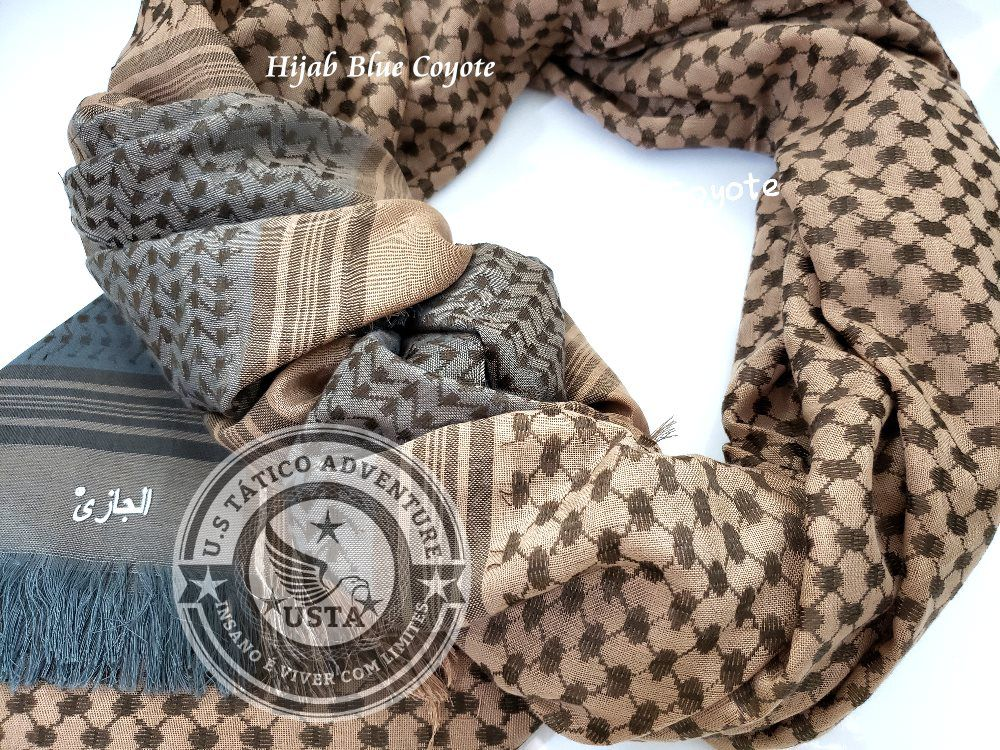 Shemagh Lenço Hijab Árabe Muçulmano Blue Coyote Exclusivo