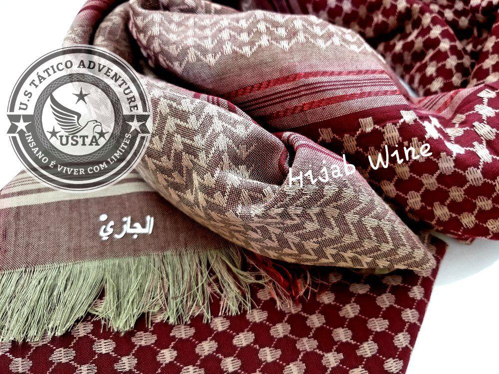 Shemagh Lenço Hijab Árabe Muçulmano Wine Exclusivo