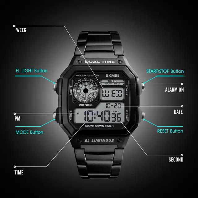 Relógio Aço Digital Alarme e Calendário Skmei Dual Time El Luminous Original