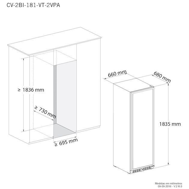 Adega Elettromec Vetro 181 Garrafas Dual Zone Built-In