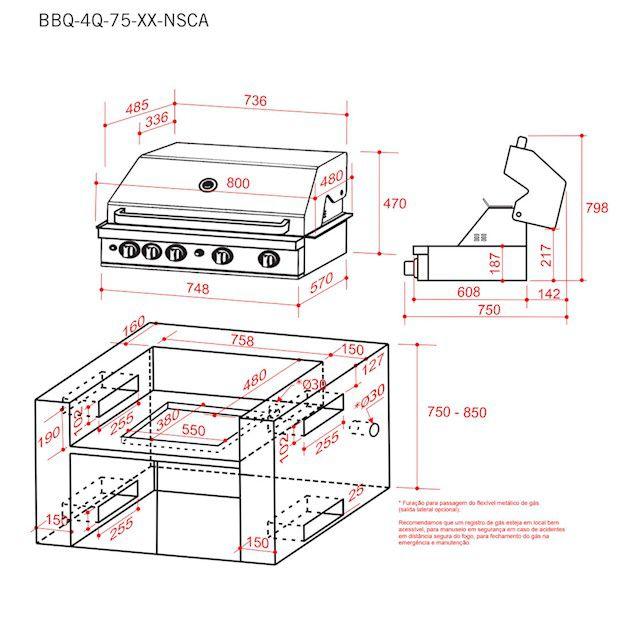 Churrasqueira Elettromec à Gás Aço Inox 75 cm Built In