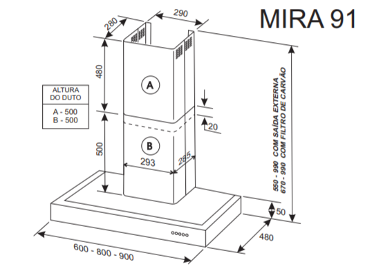 Coifa de Parede Mira Rimi 91 Inox 90cm