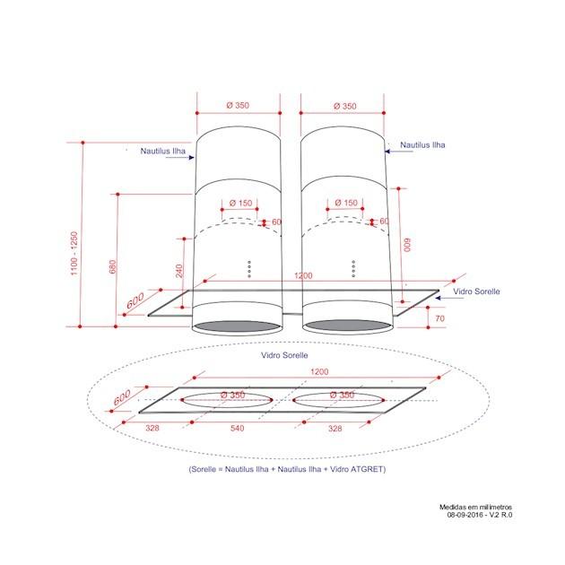Coifa Elettromec Nautilus Sorelle Ilha Inox e Vidro 120cm 220V