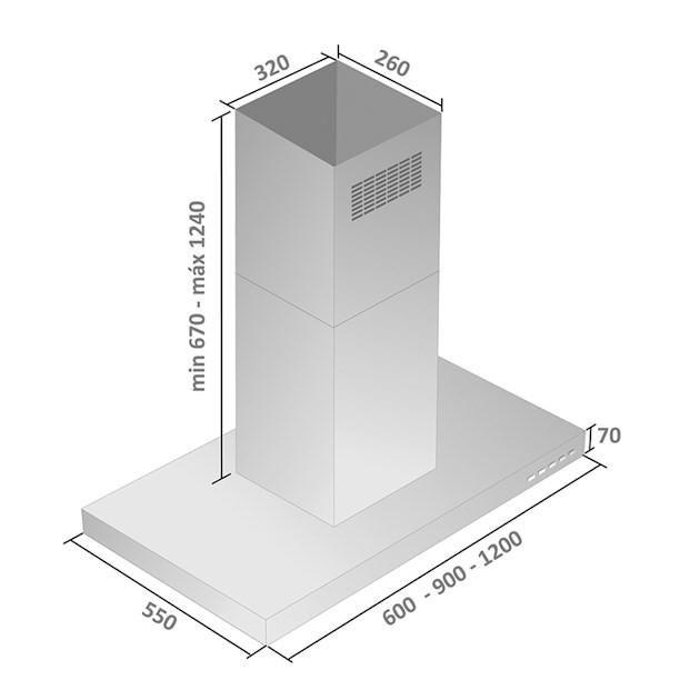 Coifa Falmec Apolo Ilha Inox 90cm 127V