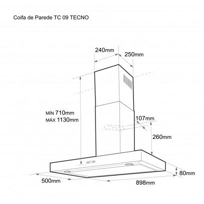 Coifa Tecno TC 09 90cm Parede em Aço Escovado