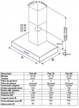 Coifa Tecno TCF70 70cm Parede em Aço Inox