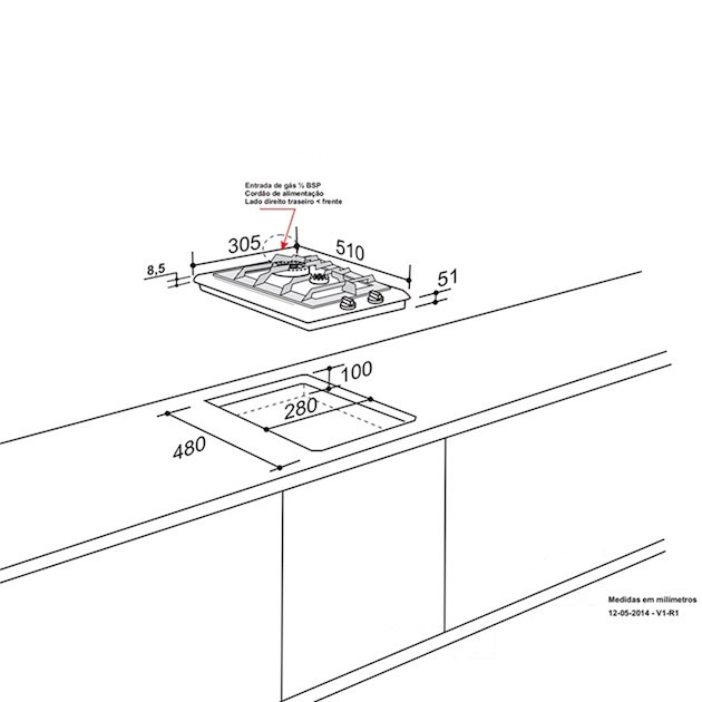 Cooktop Dominó a Gás Elettromec 2 Queimadores 30cm Bivolt