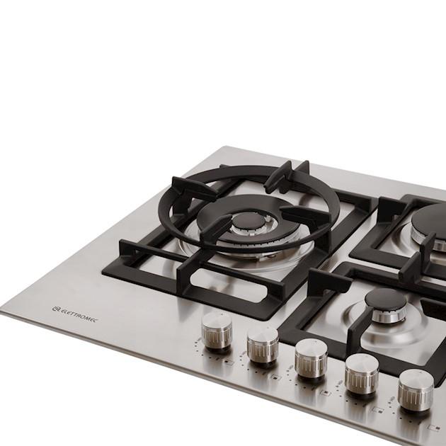 Cooktop Elettromec a Gás Quadratto 5 Bocas Tripla Chama Lateral Inox 75cm