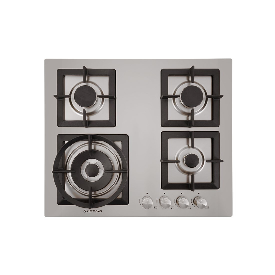 Cooktop Elettromec a Gás Quadratto 4 Bocas Tripla Chama Inox Gusa 60cm