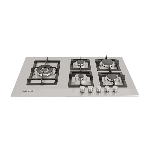 Cooktop Elettromec a Gás Quadratto 5 Bocas Tripla Chama Lateral Inox 86cm