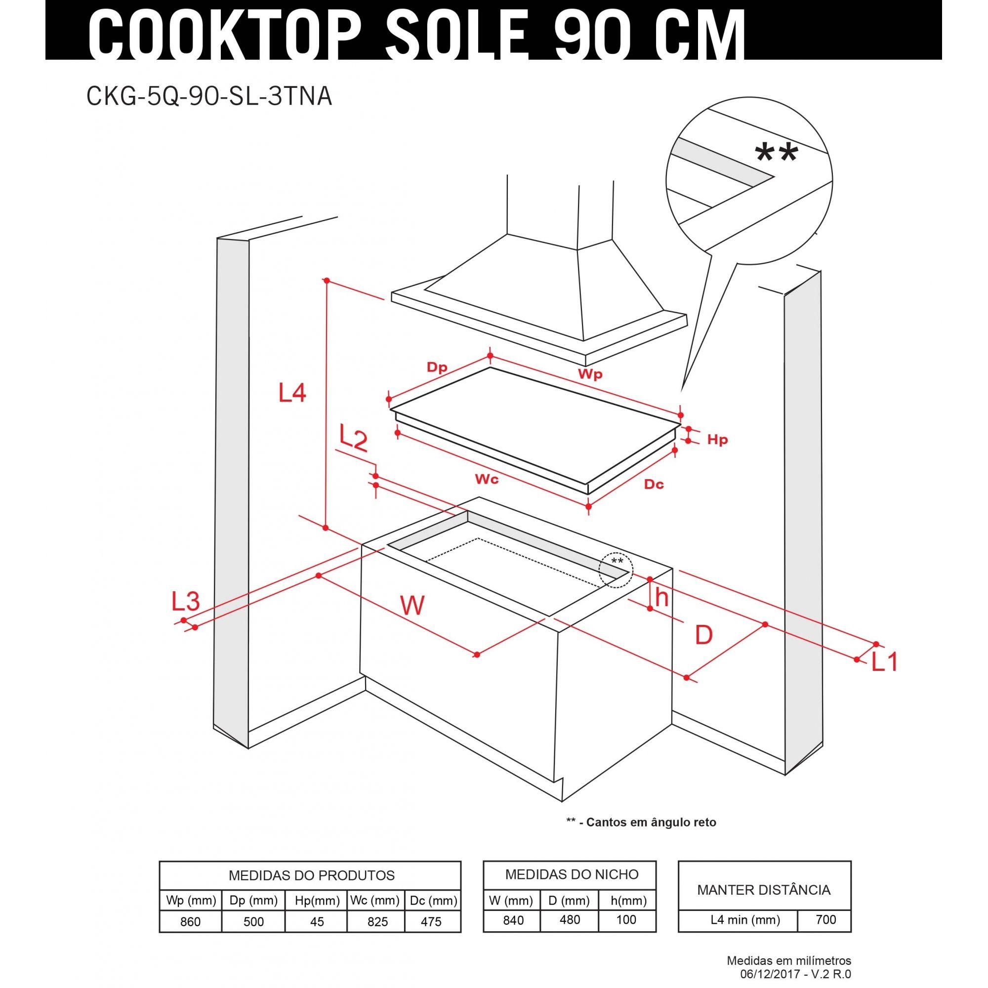 Cooktop à Gás Elettromec Sole 90cm