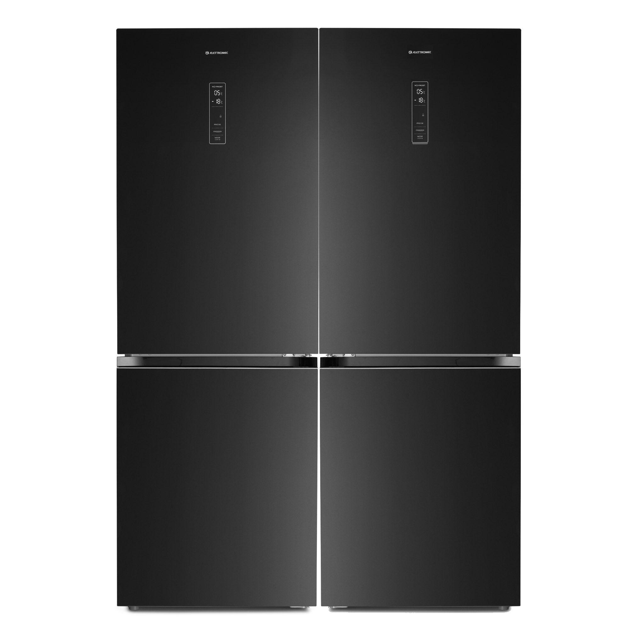Refrigerador Elettromec Vetro Duo Bottom Freezer 634 Litros Vidro Preto 220V