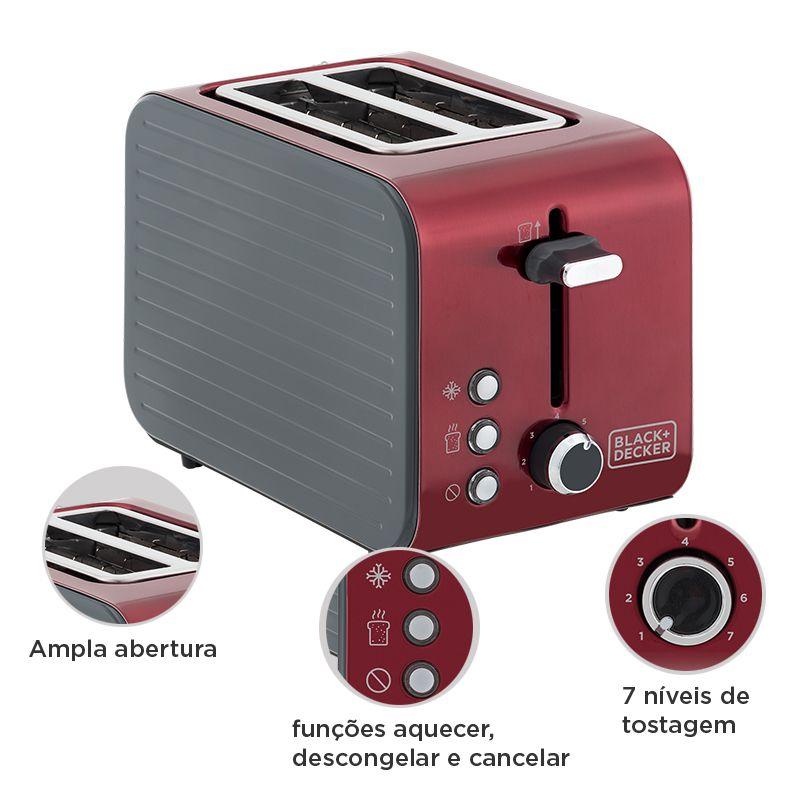 Tostador Vermelho Black & Decker T850V Aço Inox 850w 110V