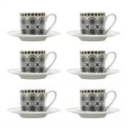 Conjunto 6 xícaras de café com pires Black Kaleidoscope Bon Gourmet