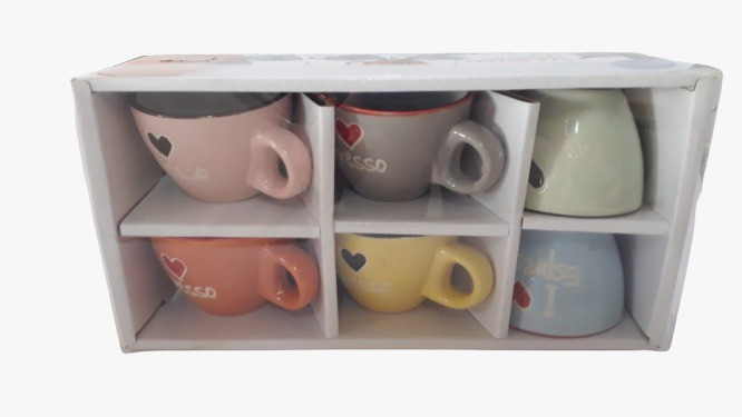 Conjunto 6 xícaras coloridas I Love Espresso