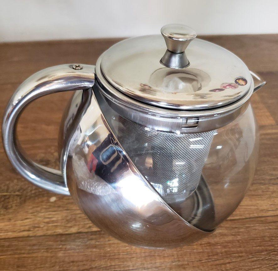 Infusor de chá inox vidro 700 ml