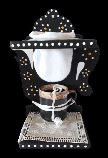 Suporte com mini coador e xícara de café - Chaleira
