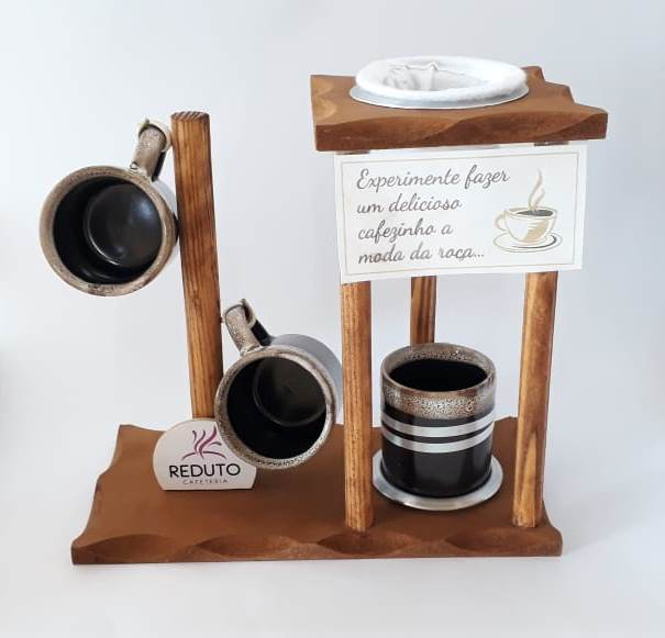 Suporte com mini coador e xícaras de café - Reduto