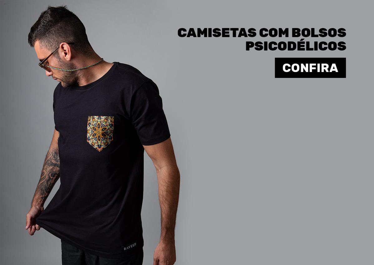 camisetas com bolsos psicodélicos