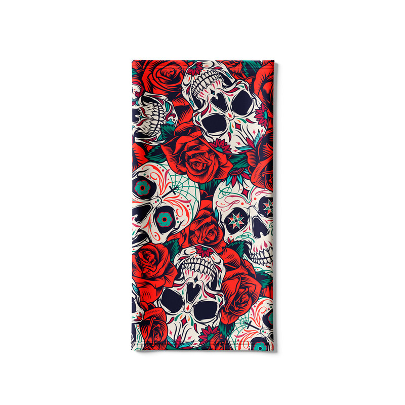 Bandana Tubular Caveira E Rosas