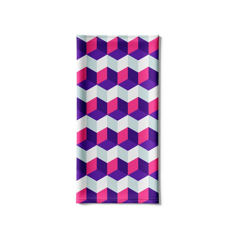 Bandana Tubular Cubos Rosa e BTanco