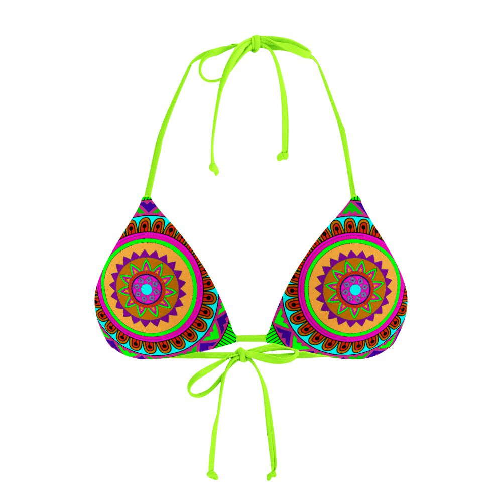 Biquíni Cortininha Psicodélico Mandala Green
