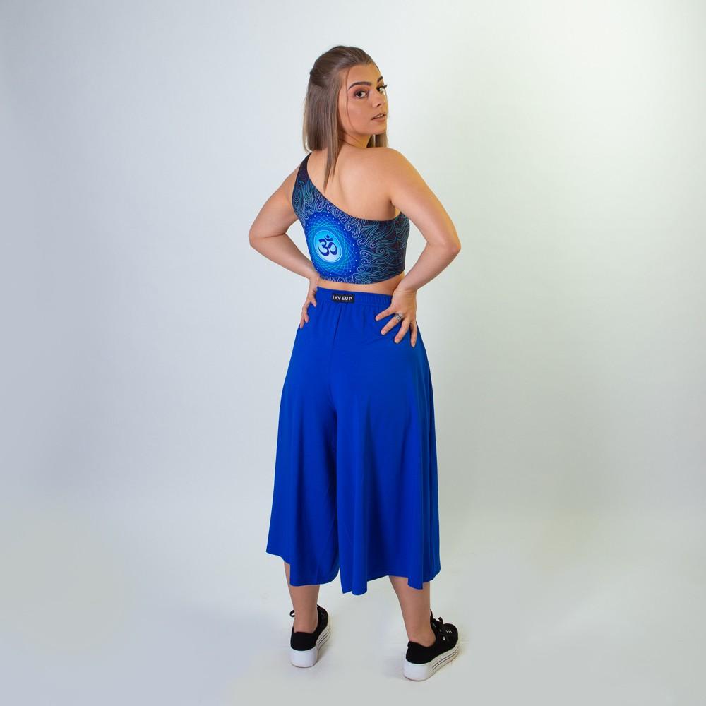 Calça Pantacourt Com Fendas Frontais Azul