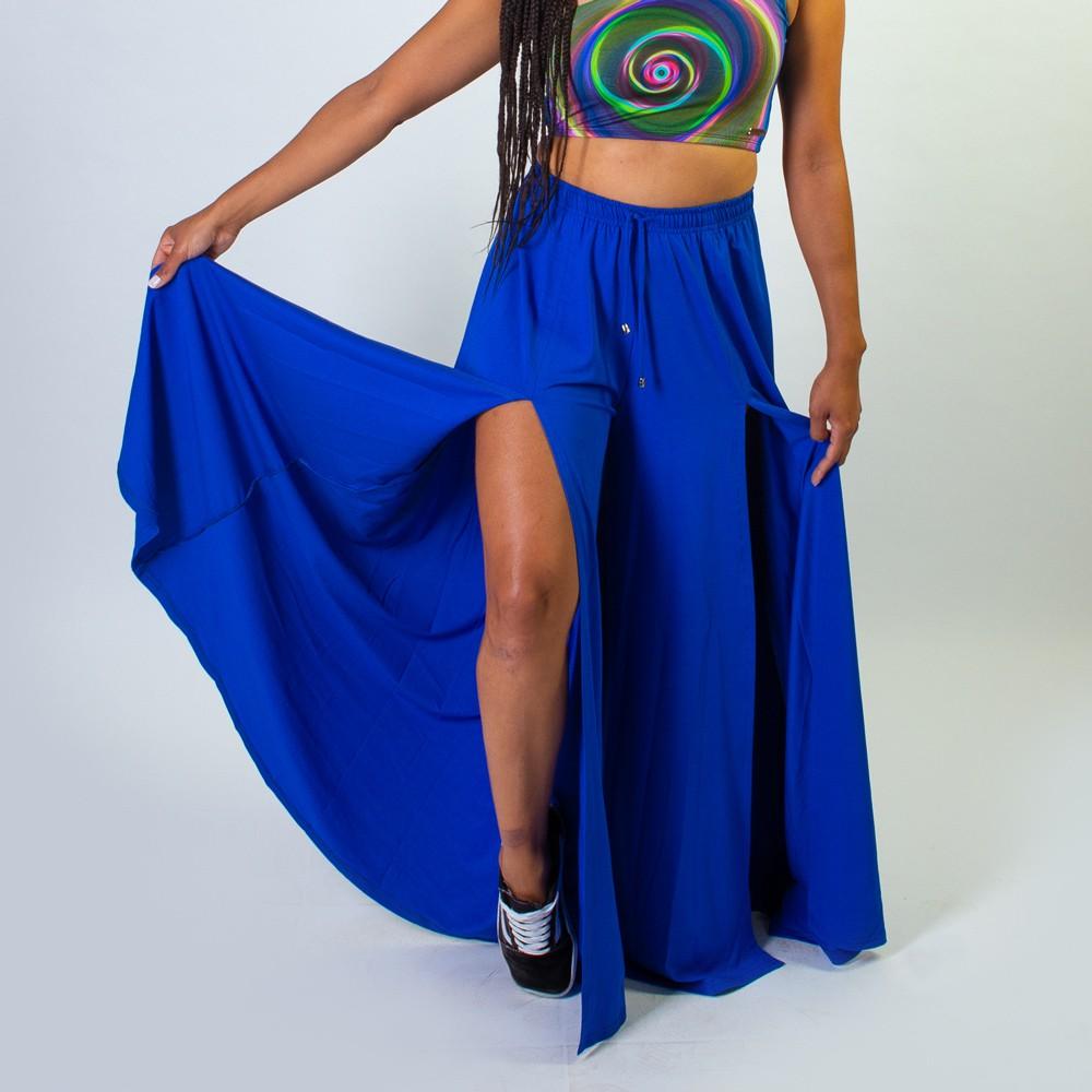 Calça Pantalona Com Fendas Frontais Azul