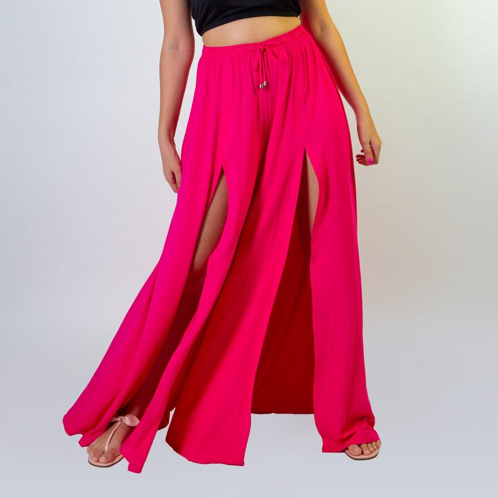 Calça Pantalona Com Fendas Frontais Rosa