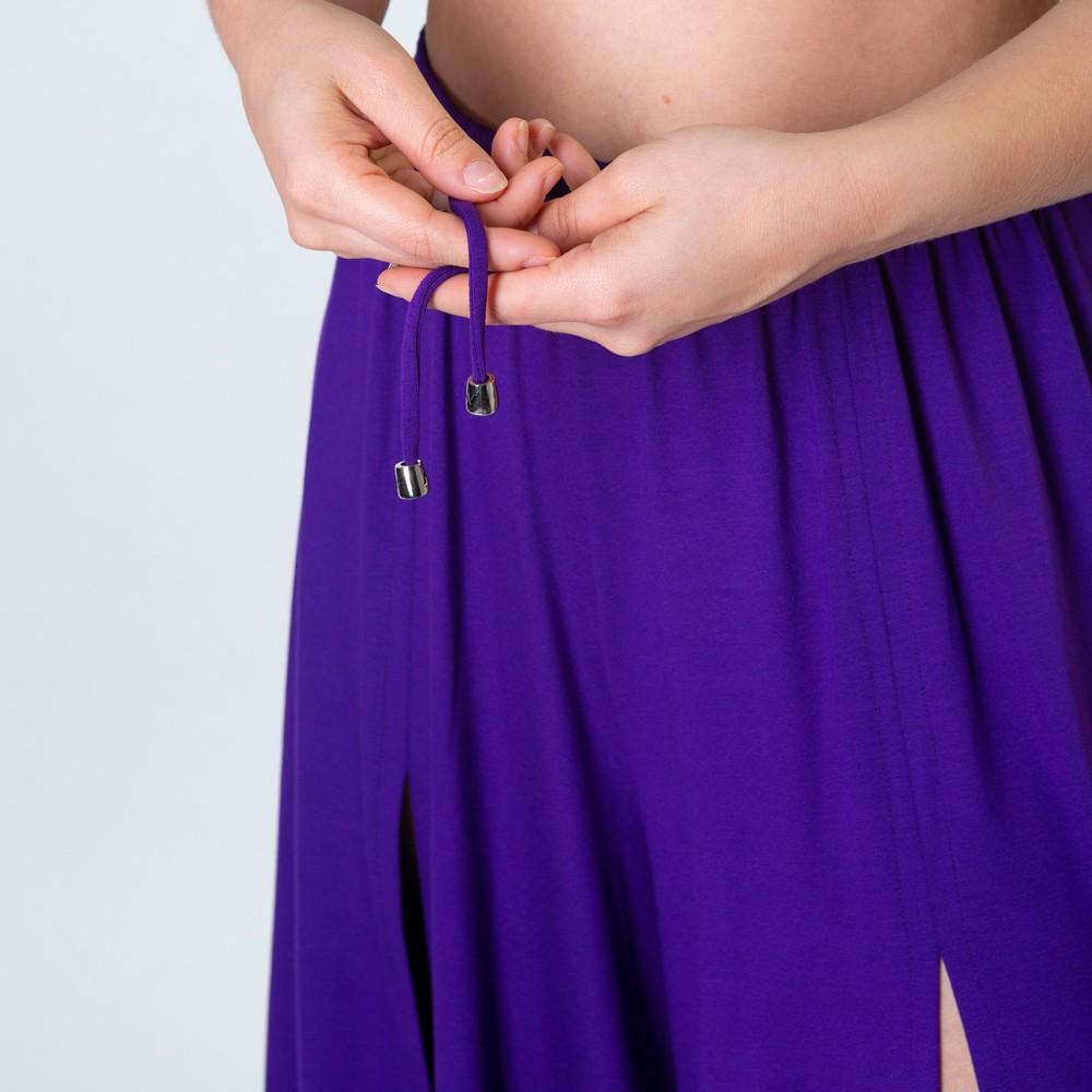 Calça Pantalona Com Fendas Frontais Roxa