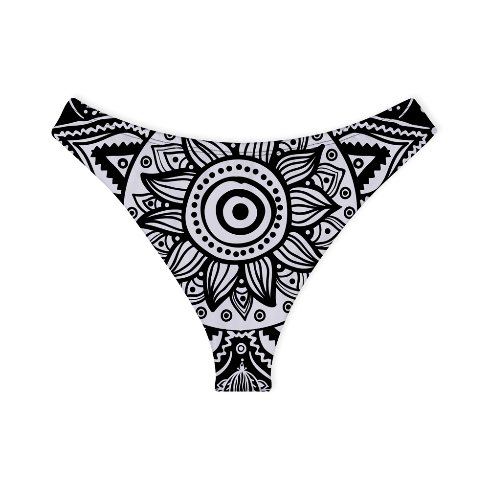Calcinha de Biquíni Asa Delta Psicodélico Black Flower