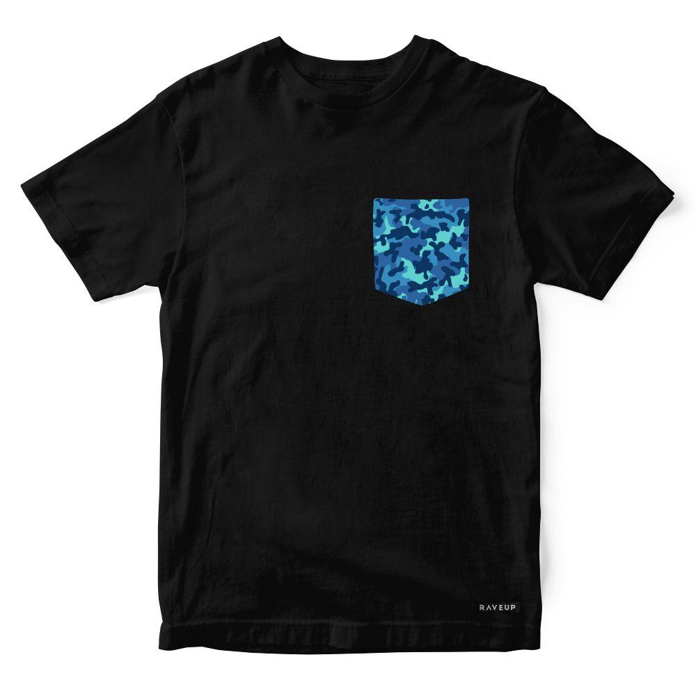 Camiseta Bolso Camuflado Azul