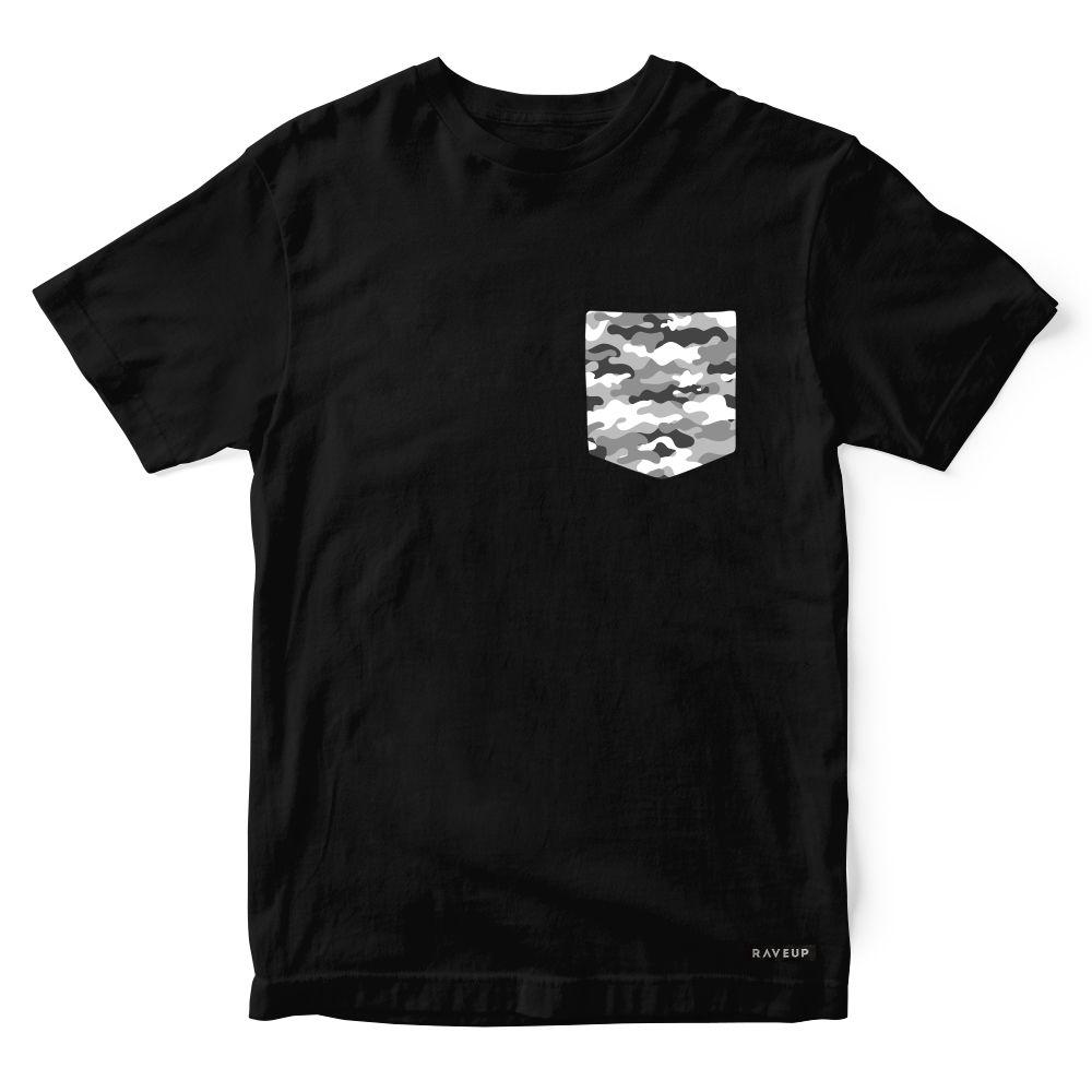 Camiseta Bolso Camuflado Cinza
