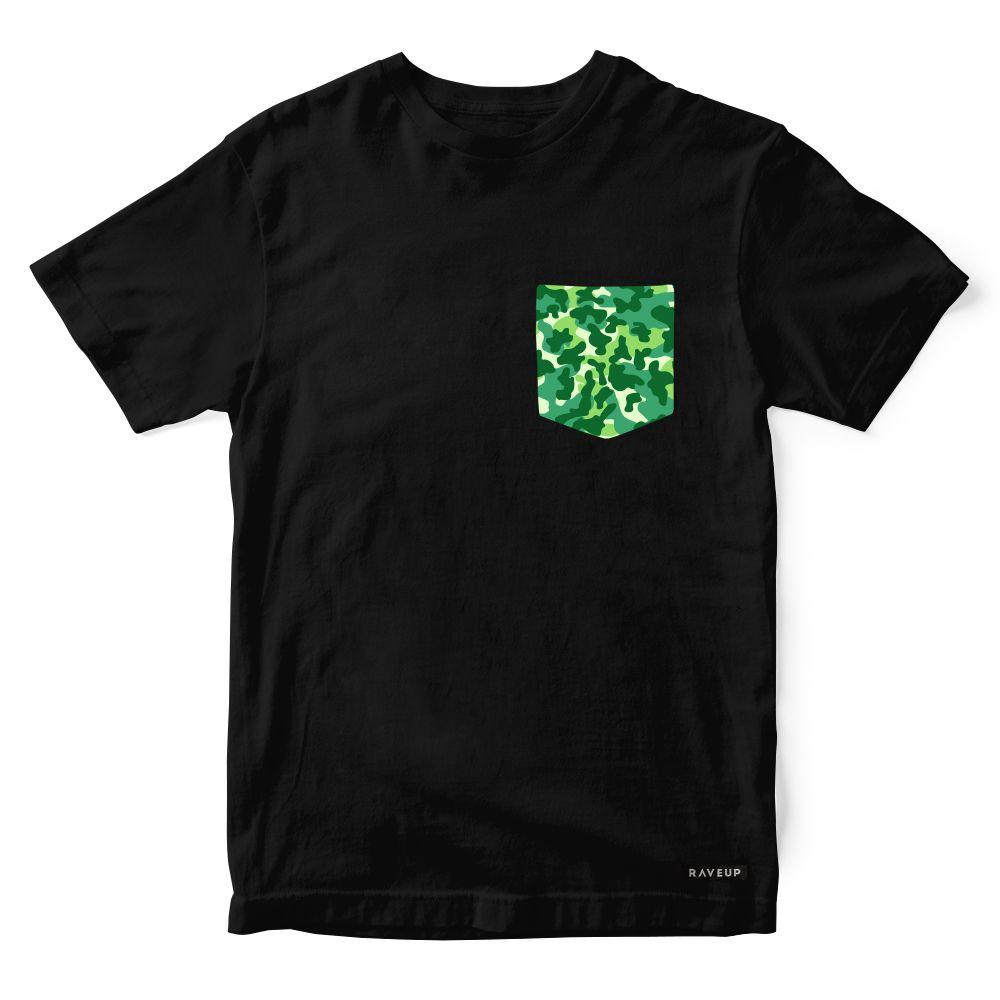 Camiseta Bolso Camuflado Verde