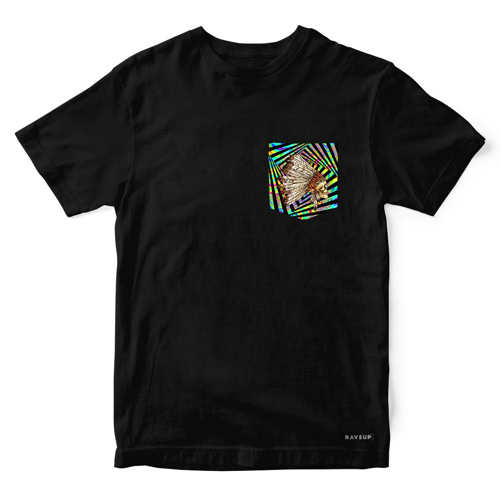 Camiseta Bolso Indian Cocar Psicodélico