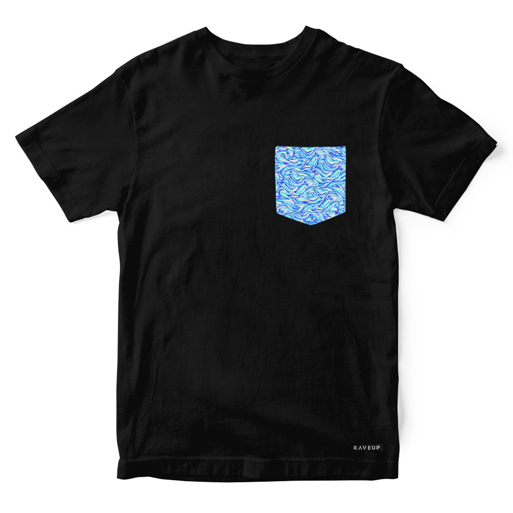 Camiseta Bolso Psicodélico Abstract Lines Blue