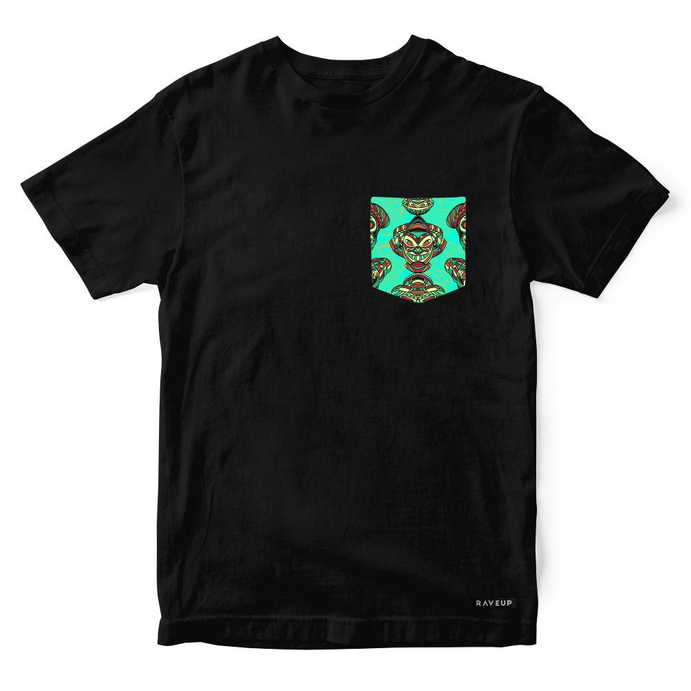 Camiseta Bolso Psicodélico Aztec Masks