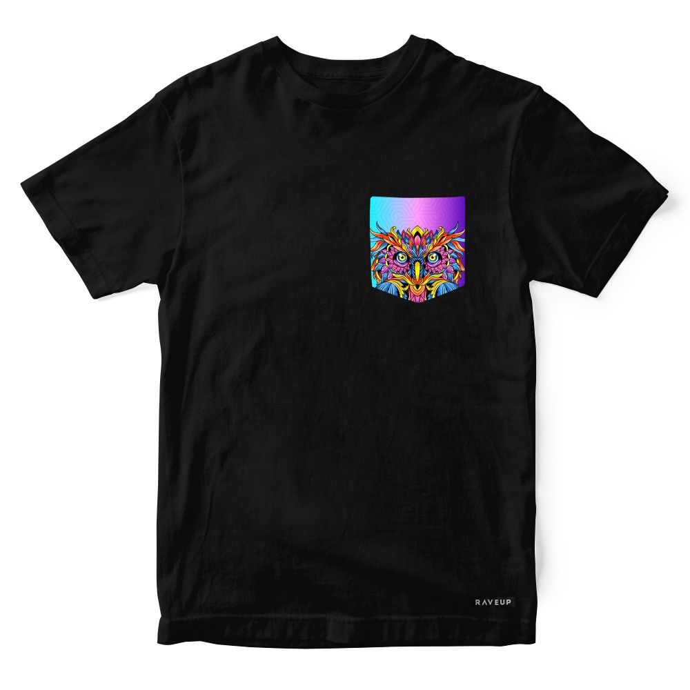 Camiseta Bolso Psicodélico Owl Colors
