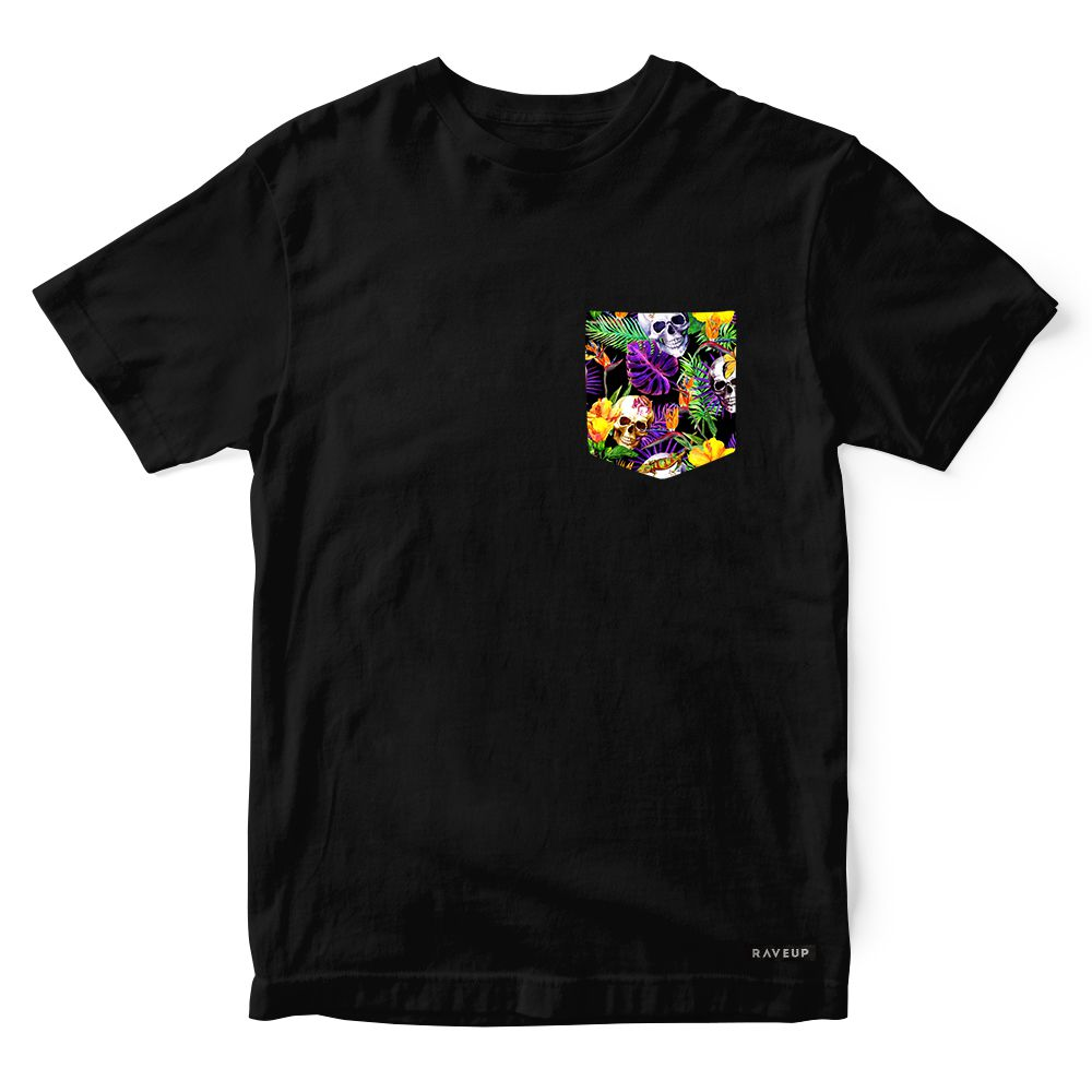Camiseta Bolso Tropical Skull Psicodélico