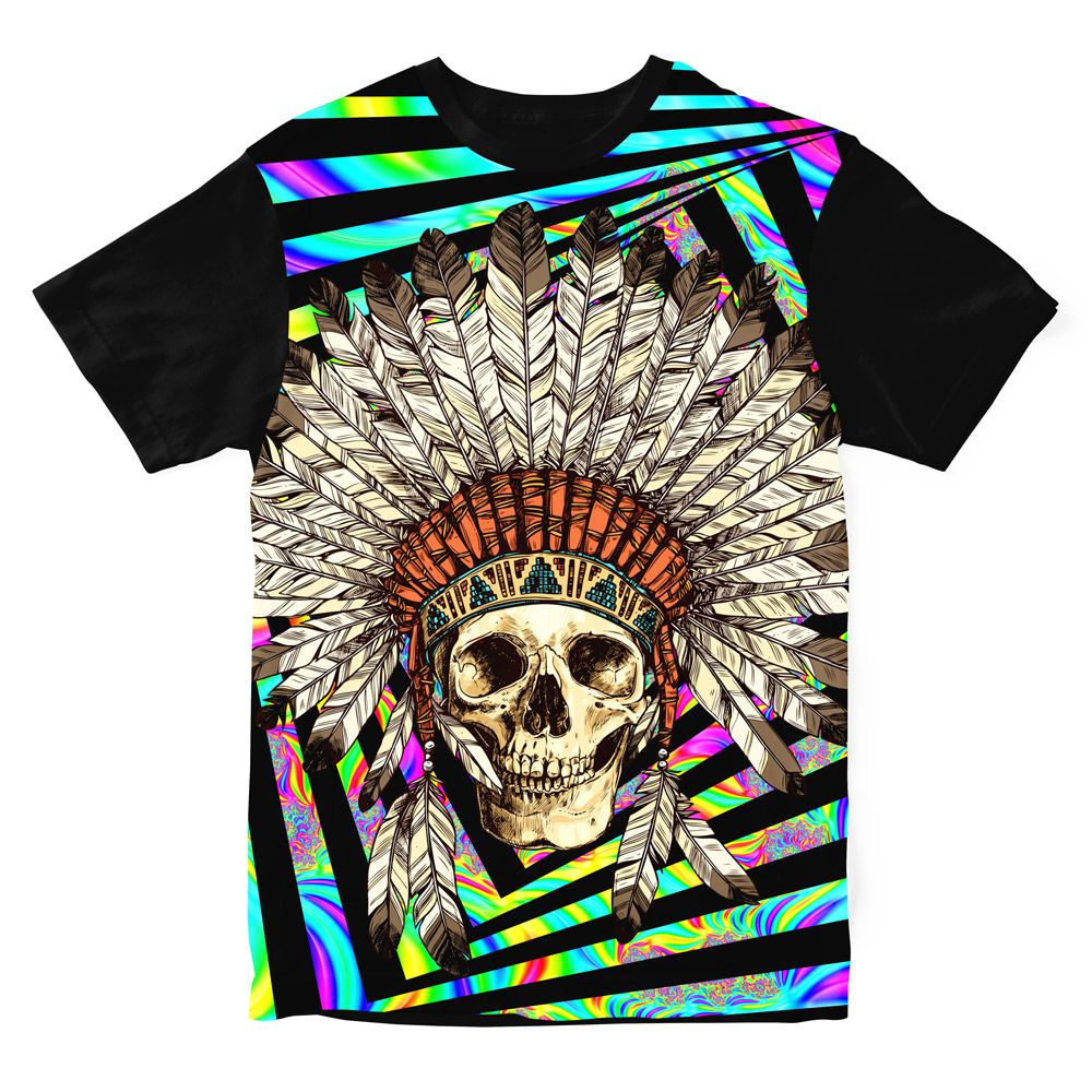 Camiseta Indian Skull Psicodélica