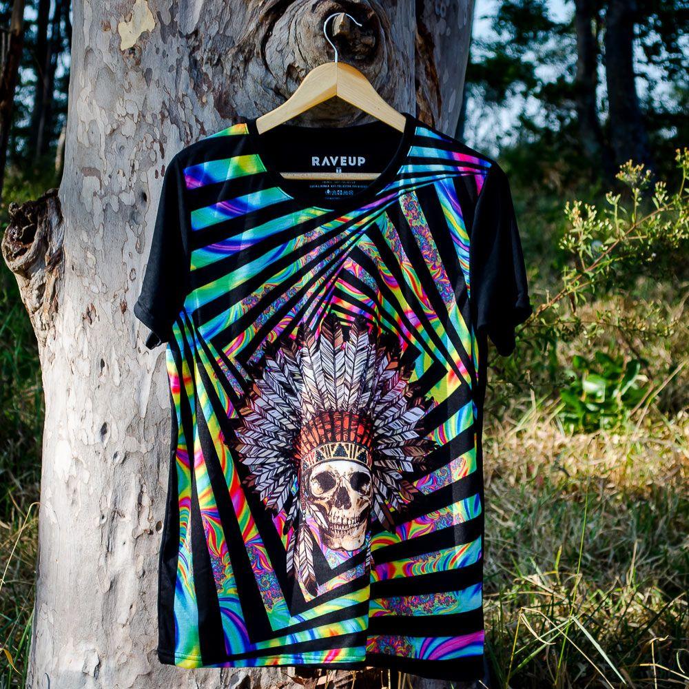 Camiseta Indian Skull Psicodélica
