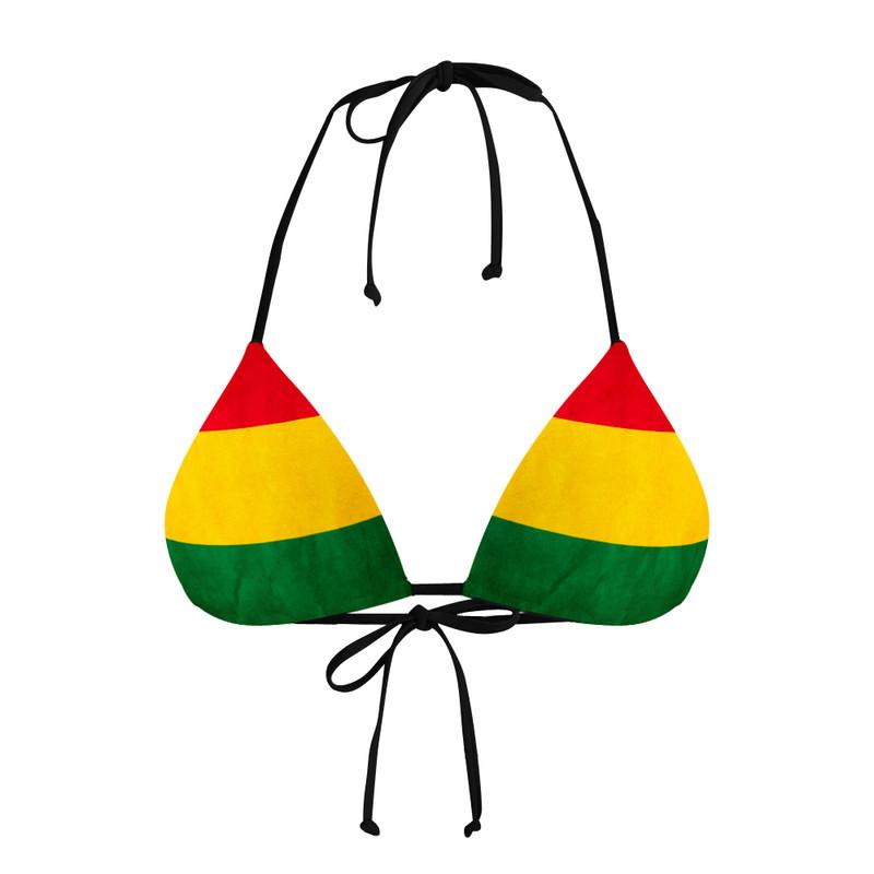 Conjunto Biquíni Cortininha e Calcinha Asa delta Bandeira Reggae