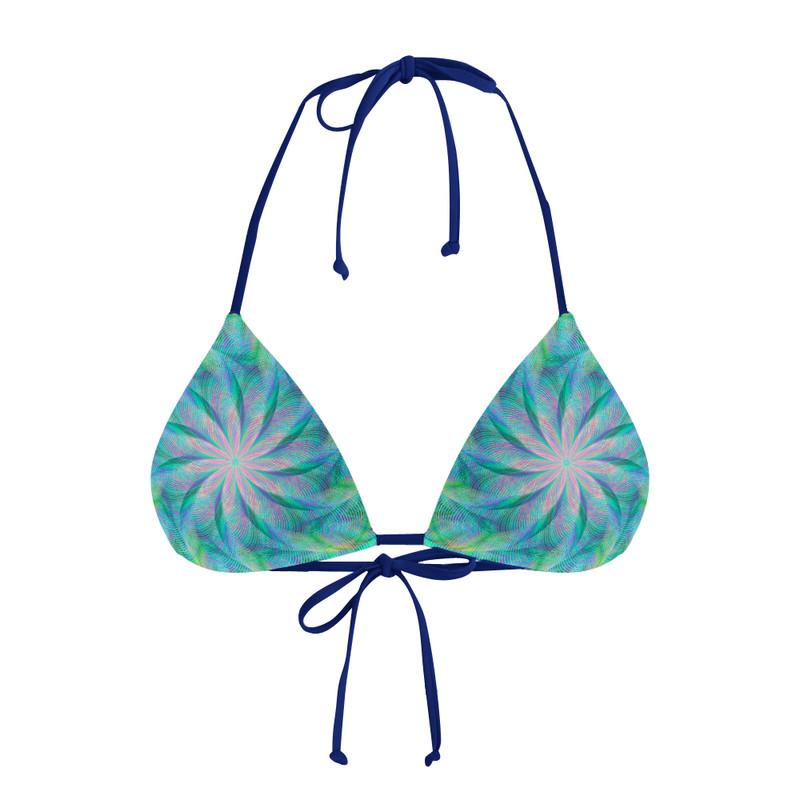 Conjunto Biquíni Cortininha e Calcinha Asa delta Espiral Flor Azul