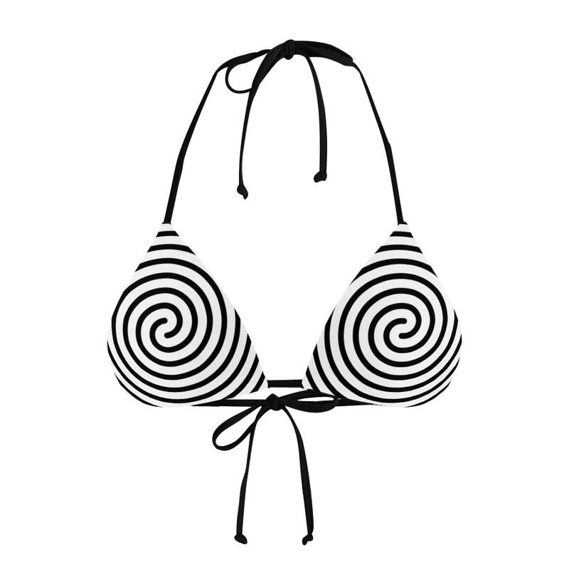 Conjunto Biquíni Cortininha e Calcinha Asa delta Linhas Espiral
