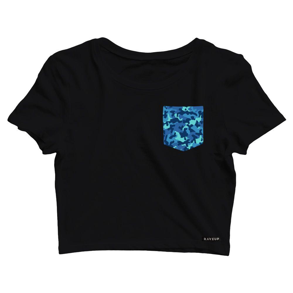Cropped com Bolso Camuflado Azul