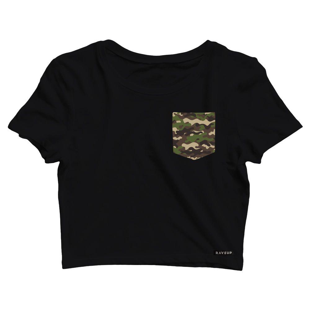 Cropped com Bolso Camuflado Exército