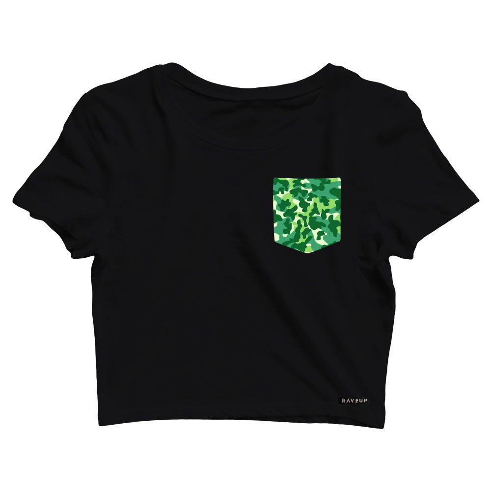 Cropped com Bolso Camuflado Verde